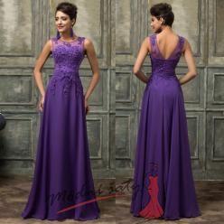 Tmavě fialové večerní šaty s krajkou