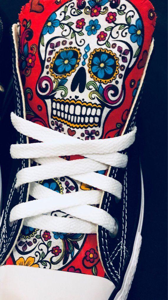 d357a918b37 Sugarskull Converse Chuck Taylor Shoes