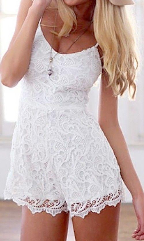 White Lace Cami Romper