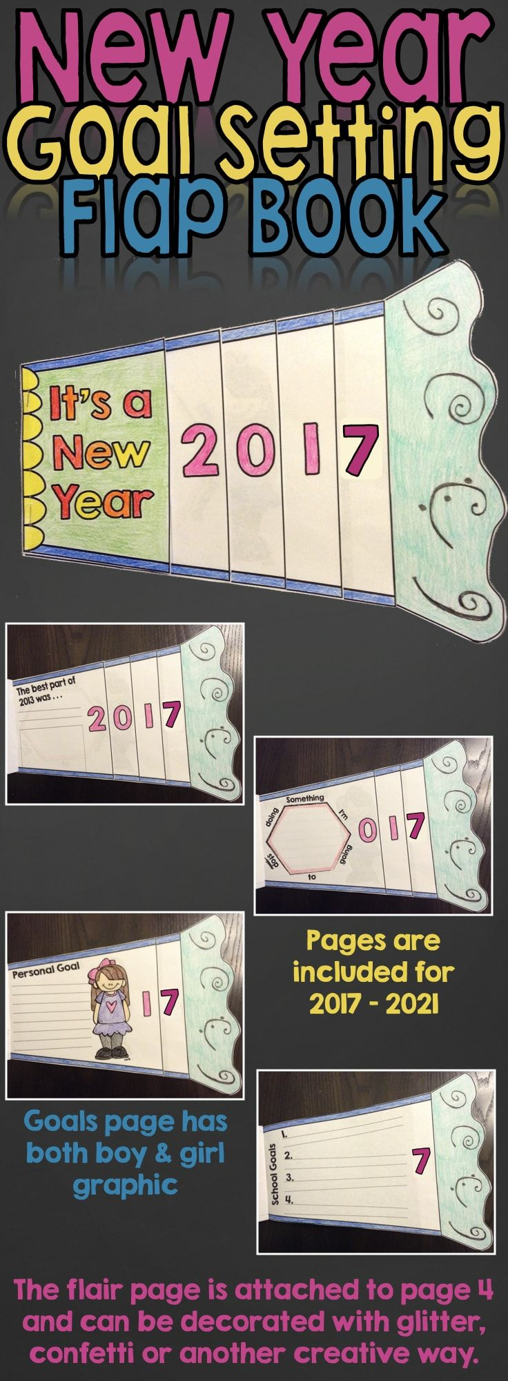 Ring in the New Year by having students reflect on their best moment in 2015 and set personal and academic goals for 2016. This flap book gives students an opportunity to set meaningful SMART goals during the first couple weeks back after the holiday break.
