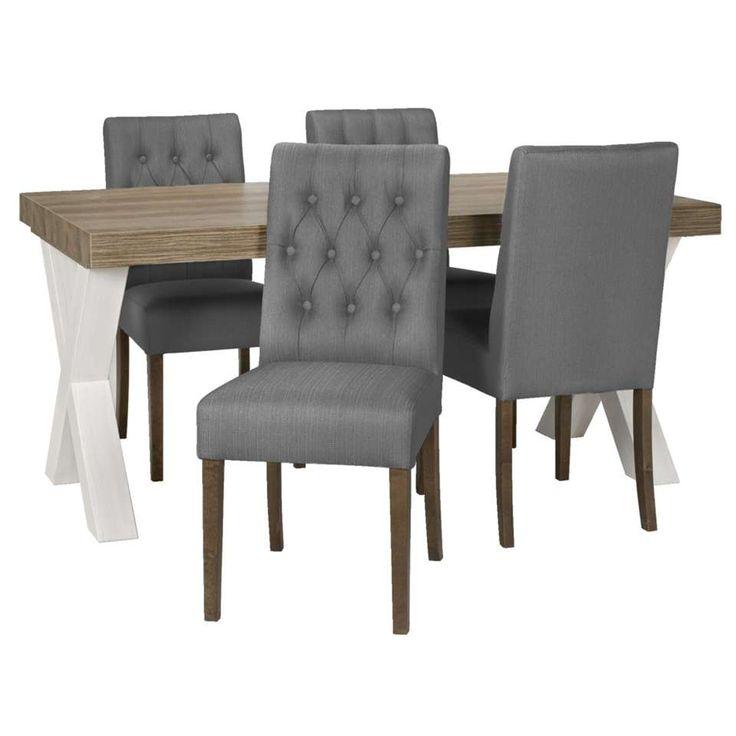 Eetkamertafel Lynn met 4 stoelen Sinatra - antraciet | Leen Bakker