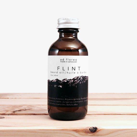 Beard Oil: FLINT - smoke beard grooming oil for men oil for grooming your beard natural beard oil natural grooming products for men by adfloreo