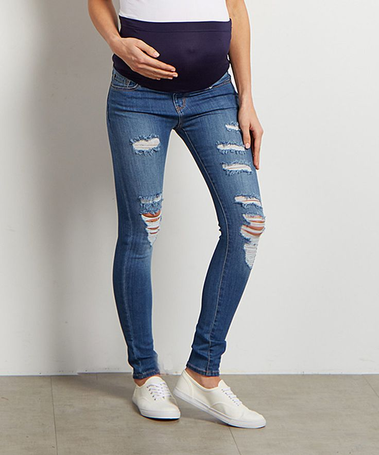 Take a look at this PinkBlush Blue Distressed Maternity Skinny Jeans today!
