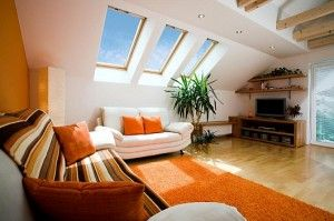Home Decor For Your Attic Orange Rugs And Full Color Sofa, Tv Stand And Green Plants Decoration