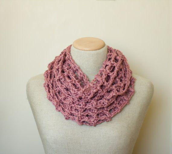 Pink Cotton Infinity Scarf Spring scarf by PreciousLambKnits