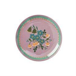 Rice - Melamine Dessert Plate with Dusty Lavender Flower Print