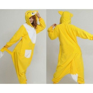 $29.45  Polar Fleece Yellow Fox Kigurumi Pajamas Adult Animal Onesie Costume