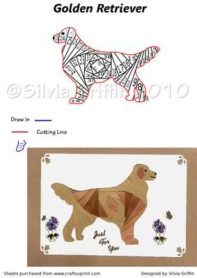 Golden Retriever Dog on Craftsuprint designed by Silvia Griffin -  This is the perfect card of any owner of this breed. Kids allways love dogs too :>. - Now available for download!