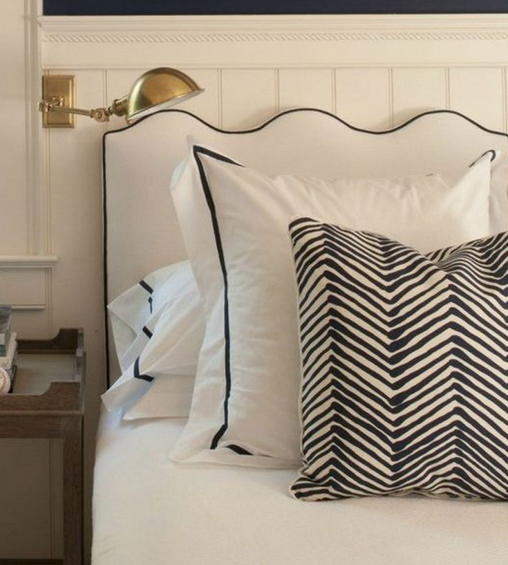White Headboard With Navy Contrast Piping