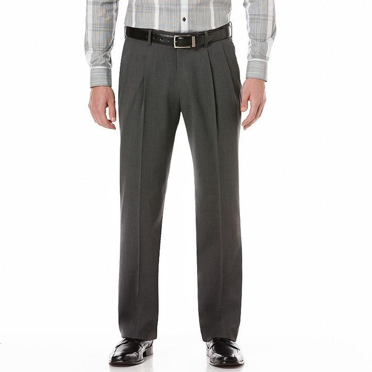Men's Axist Ultra Series Fancy Straight-Fit Solid No-Iron Performance Pleated Dress Pants,