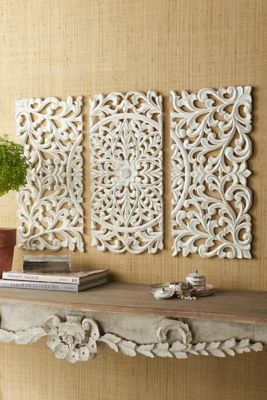 Valere Triptych Panel - Scrolled Wall Hanging, Whitewashed Scroll Wall Hanging | Soft Surroundings