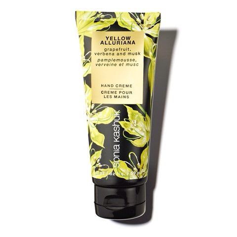 "A delightfully non-greasy, non-sticky formula with natural Shea butter, Vitamin E, Aloe Vera and botanical oils. This beautifully healing treatment provides ultimate hydration and protection against the drying elements, while absorbing quickly. Delicately scented in Yellow Alluriana: A burst of refreshing citrus notes and crisp verbena plays to the sensuality of musk, for the happiest, most vibrant and uplifting fragrance. A delight for the free spirited   My new ""go to"" hand cream"