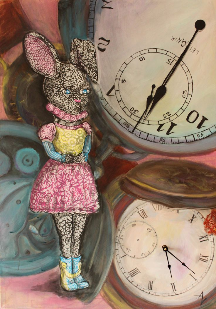 Time and expectations  - Acrylic on canvas - Rabbit art - bunny - time- clock