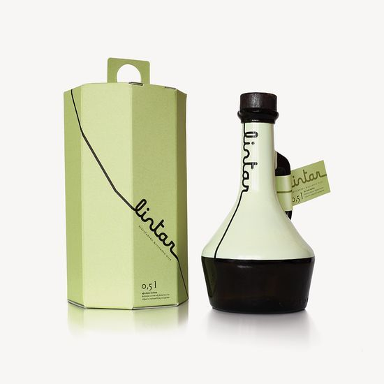 croatian Lintar olive oil, LOVE the bottle and how the logo mimics the pour line of OO