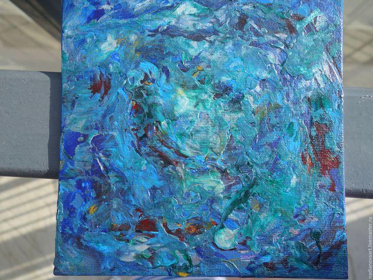 """Купить """"Морская стихия""""-небольшая квадратная 15/15 см абстракция - синий, морская тема, океан"""