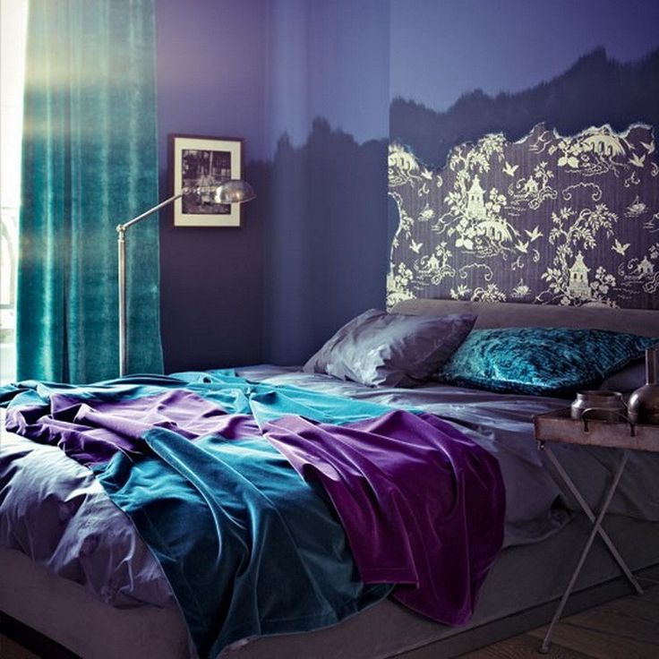 Decorating The Bedroom With Green Blue And Purple: Seaside Interiors Purple Gray And Turquoise Bedroom