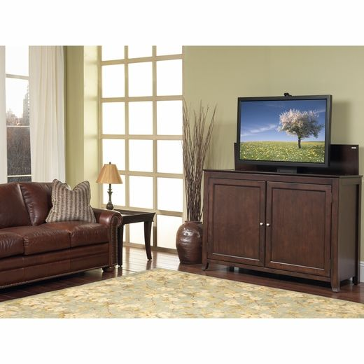 monterey espresso tv lift cabinet by touchstone home products cabinet includes mounts and features a motorized lift for flat screen tvu0027s