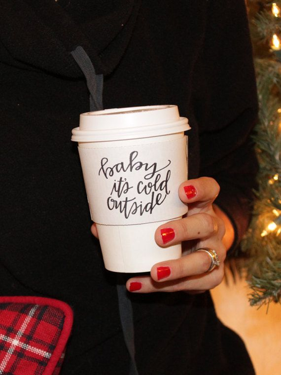 Baby It's Cold Outside White Coffee Sleeve by tulleANDtwig on Etsy