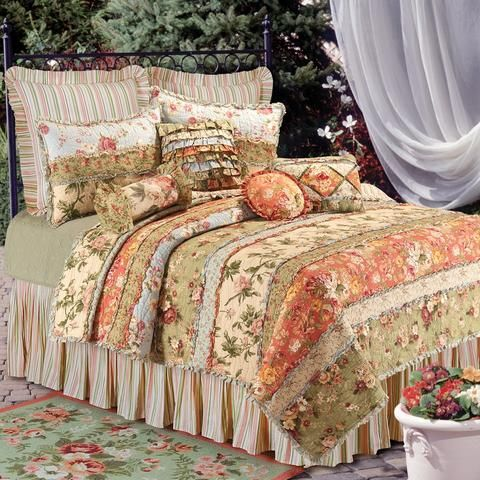 Garden Dream Country Cottage Rag Patch Floral Comforter 7pc King
