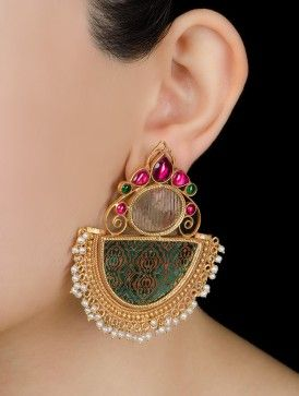 Gold-Printed Colored Glass Ethno Silver Earrings