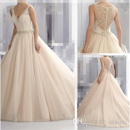 Wholesale vera wang bridal gowns, wedding gowns pictures and wedding stores on DHgate.com are fashion and cheap. The well-made  Sheer Straps V Neck Vintage Wedding Dresses 2015 New Crystal Rhinestones Beaded Appliqued See Through Back Tulle A Line Blush Wedding Gowns sold by szaimi is waiting for your attention.