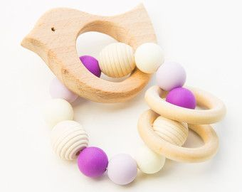 Wooden Toy Silicone Baby Toy Teether Baby by AllLovelyMade
