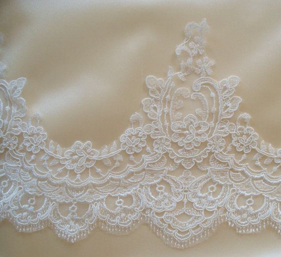 Ivory Lace Trim Bridal Lace Wedding Gown Lace by JLWeddings, $11.75
