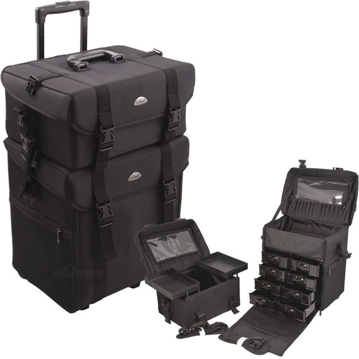 Black Salon Trolley 2 in 1 Rolling Professional Beauty Makeup Carrying Case New #Sunrise