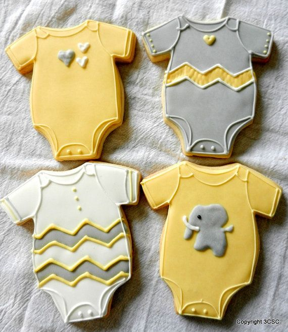 Baby Onesie with Chevron Pattern, Elephants and hearts