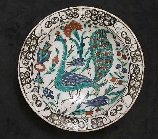 Dish with Peacock Design, early 17th century. Turkey, Iznik. The Metropolitan Museum of Art, New York. Gift of Edward J. Wormley, 1965 (65.103) #peacock