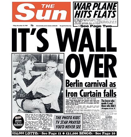 berlin wall fall news in The Sun British newspaper - no comments...