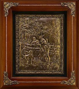 Деревянное панно Охотник с собакой - Панно в деревянной раме <- Панно и рамки - Каталог   Универсальный интернет-магазин подарков и сувениров