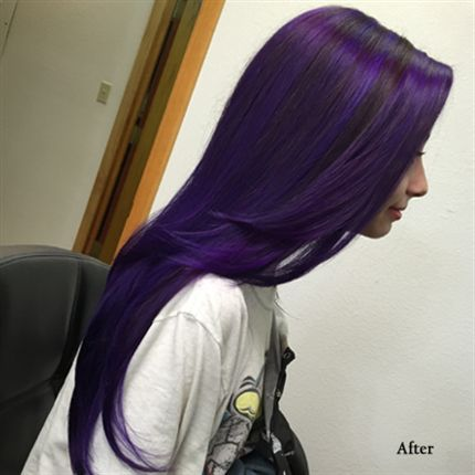 """""""Dark Purple: formulas - I loved when I died my hair purple at my 5th anniversary of continuous treatment for my terminal stage 4 lung cancer. I got a lighter purple than I wanted. I had no idea the confidence I'd gain in my life and in the battle for my life. I believe I'm going to look into the possibility that I could achieve this rich dark purple and give it another try. Purple is the color for all cancer and we must fight to end all cancer. Always with love Uniquely RA"""
