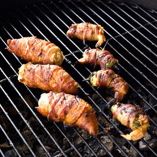 Bacon Wrapped Shrimp Stuffed Jalapeno Poppers and Chicken Breasts