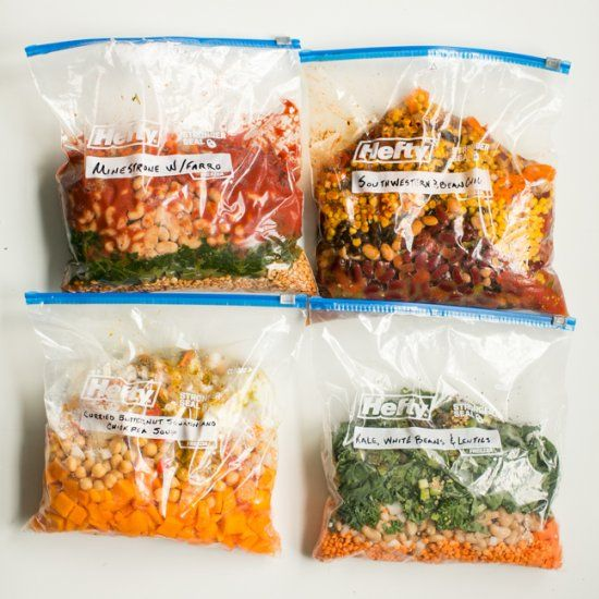8 freezer bag meals that you can just dump in the slow cooker whenever you want.