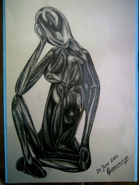 Kenyan figurine, on A3.  $25.00.  Also at www.facebook.com/Muzart