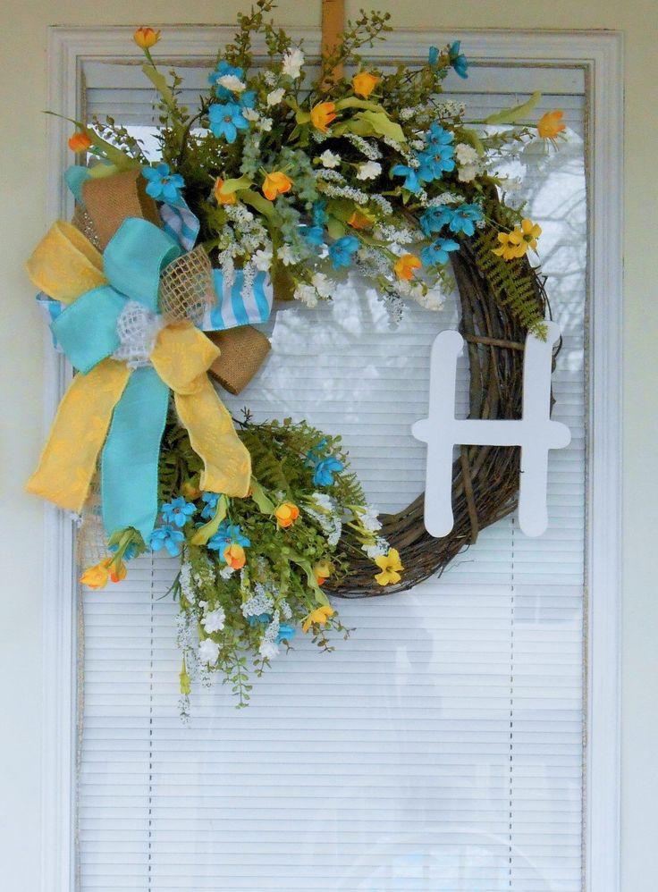 Monogram wreath, Spring Monogram wreath, Grapevine wreath, Summer wreath, Double door wreath, Spring wildflower wreath, Turquoise wreath by CottageHouseWreaths on Etsy https://www.etsy.com/listing/285645439/monogram-wreath-spring-monogram-wreath