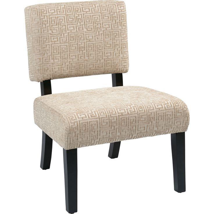 Jasmine Accent Chair with Dark Espresso Legs, Maze Oyster Fabric