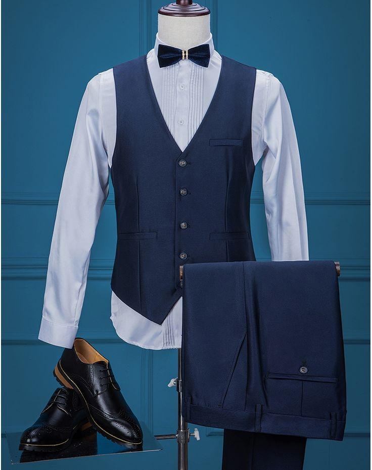 Brand Men's Vest Suits Pants Dark Blue Groom Wedding Slim Fit 2 Piece Prom Male Suit Tuxedos