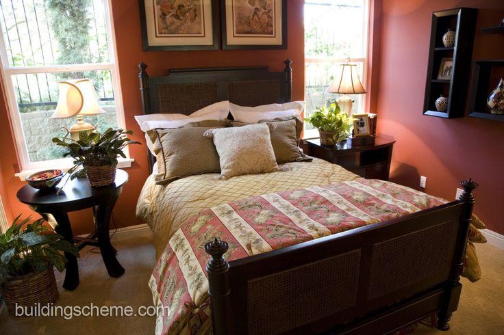 Orange Modern Bedroom Wicker Furniture with Wall Mounted Wooden Rattan Dark Brown Rectangle Wicker Platform Bed and Wall Mounted Wooden Rattan Dark Brown Rectangle Wicker  Headboard