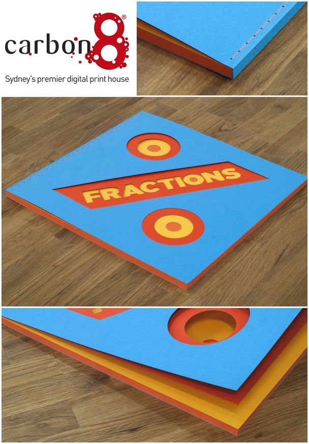"""""""Fractions""""  A beautifully created multi layered book created by using different colours of Spicer's paper called """"Optix Colours"""". Laser cutting produced by our sister company Bespoke Laser.  Binding: Over sewn with orange thread and tied ends."""