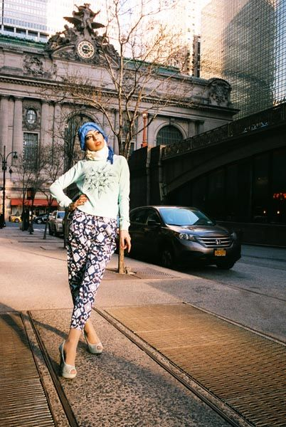 Nayab Ahmed puts on her hijab and stomps around the streets of New York City in this fashion editorial by Rashida Bolden.