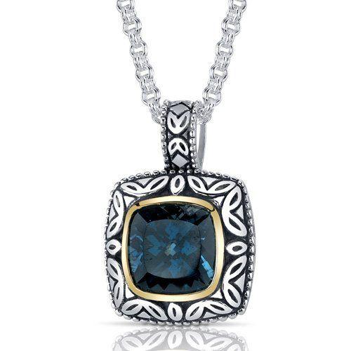 Revoni Coup d'Eclat – Collier et pendentif avec Topaze bleu de Londres coussin 5,00 cts. – Inspiration pour femme – Argent fin 925/1000 | Yo...