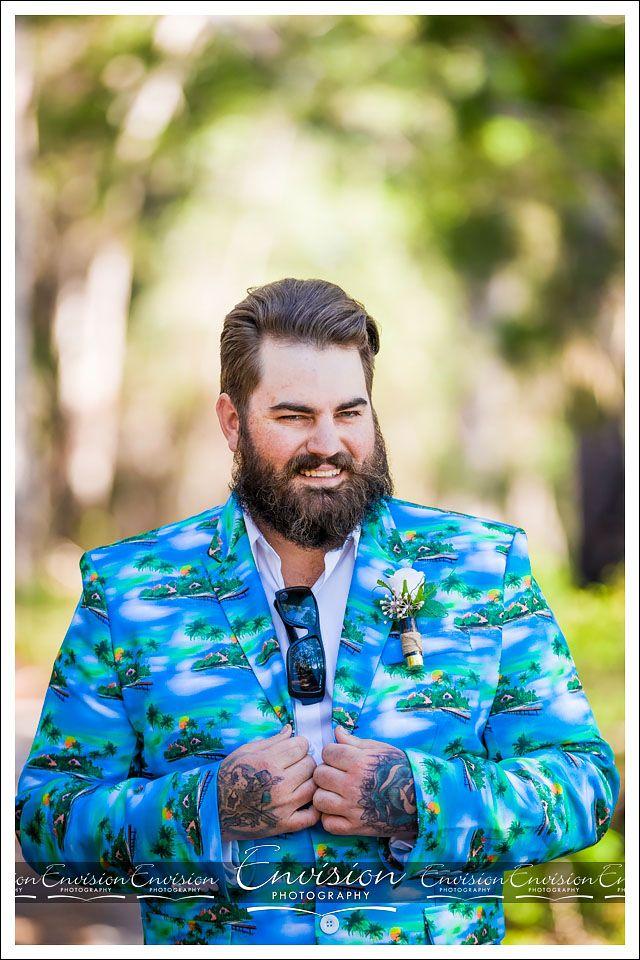 How cool is Dan's Wedding Day attire? #HawaiianBlazer #BulletCaseButtonHole