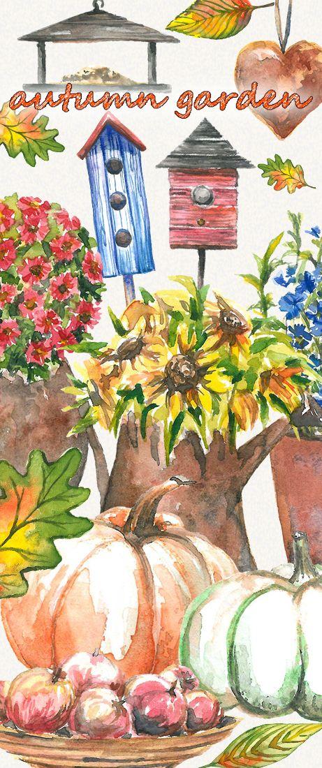 Garden clipart, autumn clipart. halloween clipart, garden tools, window clipartm Hand Painted, clip art, digital watercolor