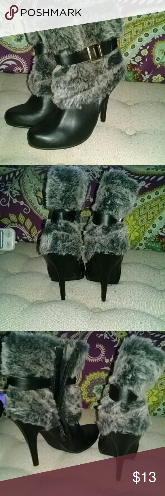 Fur Buckle Ankle Boots NWOT fur ankle boots with buckle detail, bought and never wore Forever 21 Shoes Ankle Boots & Booties