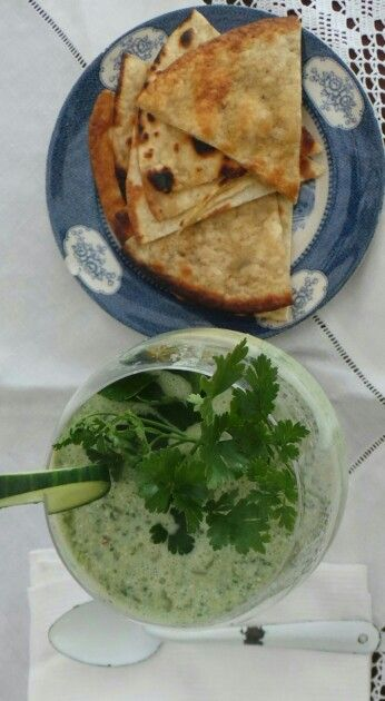 Cucumber and celery soup with crushed ice