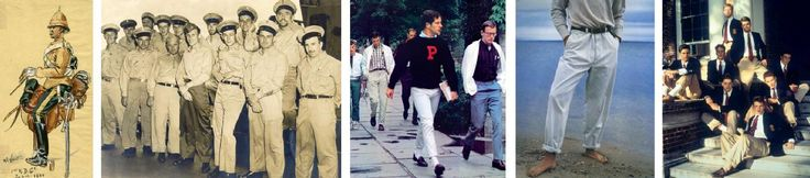 (Left to right) British troops in India started wearing khaki in the 19th century; US Coast Guardsmen in 1940s; Princeton students captured in Teruyoshi Hayashida's influential 1965  photo book, Take Ivy; an image from the Spring 1991 Polo Ralph Lauren campaign; khaki-clad Brendan Fraser, Ben Affleck, Matt Damon, and others in the 1992 film School Ties