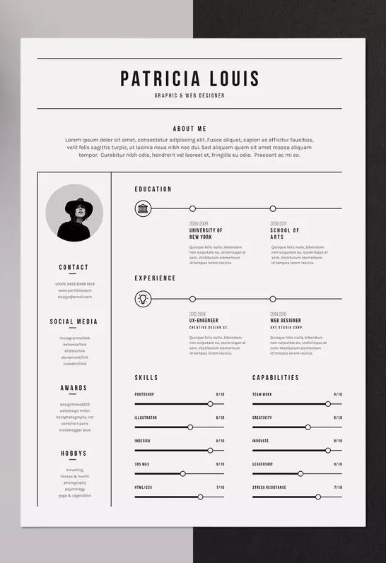 minimalist resume template psd indd ms word