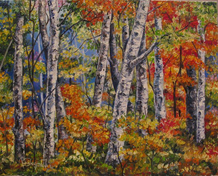 """""""bosco d'aceri) olio su tela (40 x 50)"""